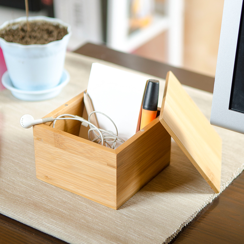 small bamboo storage box with cover modern style natural wood desk organizer table storage box for cover desk