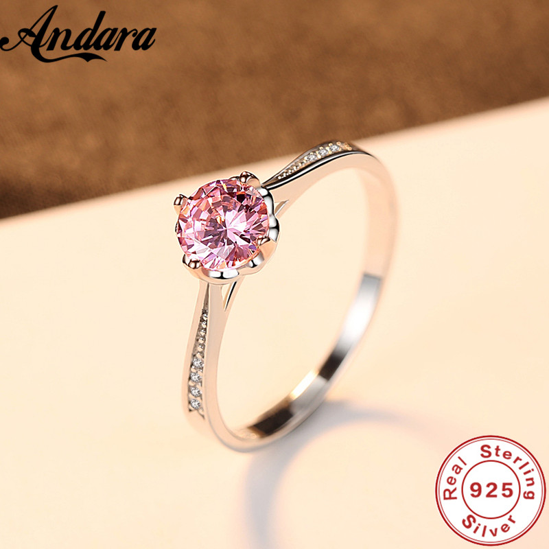 Hot 100% 925 Sterling Silver Pink <font><b>Crystal</b></font> AAA Zircon Women Ring Exquisite S925 Jewelry image