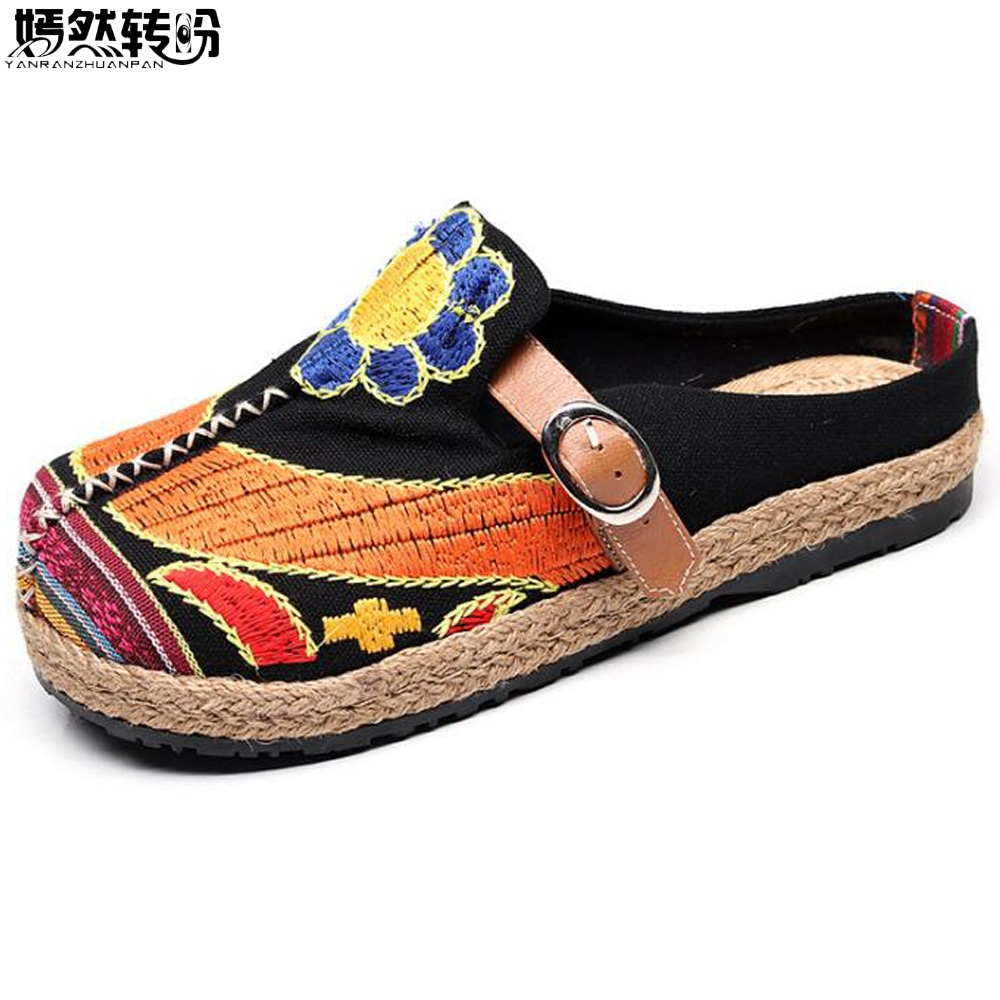 Vintage Women Slippers Casual Lin Bomull Floral Broderi Handgjorda Ladies Canvas Walk Hampa Soft Shoes Zapato Mujer