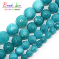 Wholesale Faceted Blue Stone Round Beads For Jewelry Making 4mm 6mm 8mm 10mm 12mm 15inches DIY Jewellery F00492