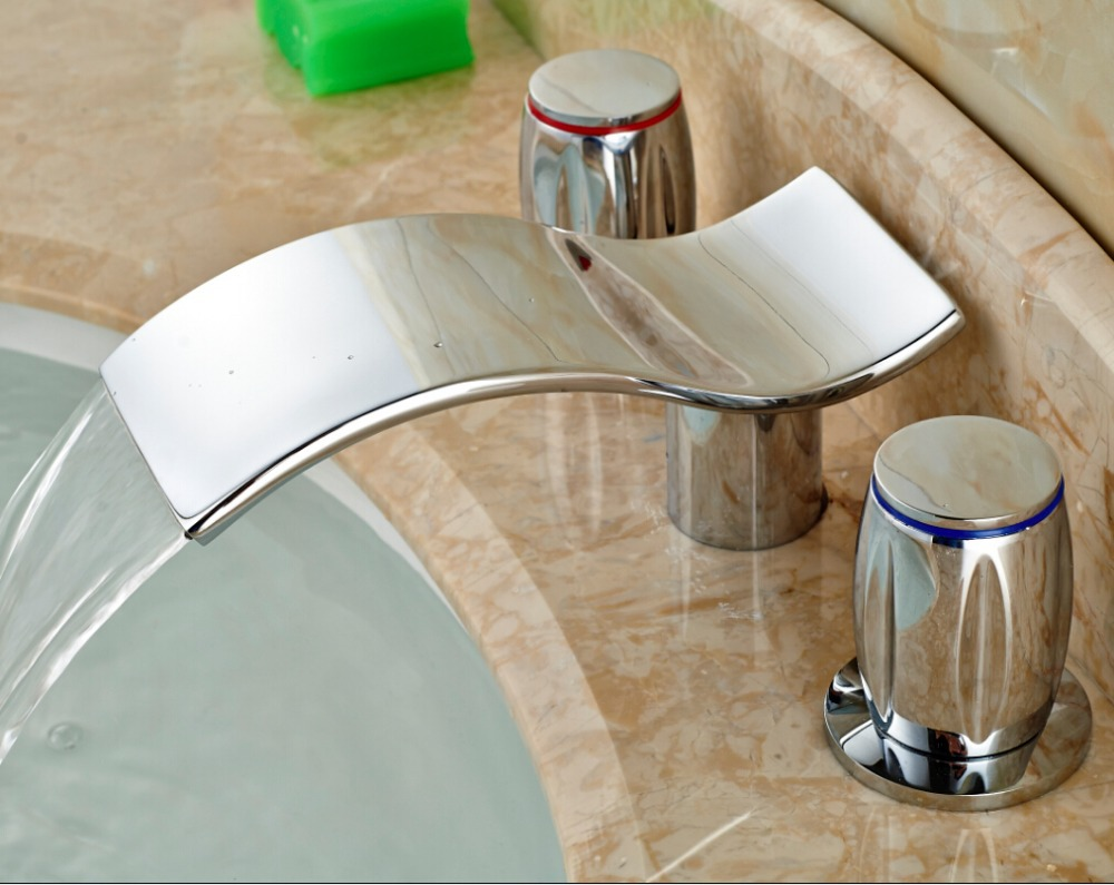 ФОТО Bathroom Waterfall Basin Sink Faucet Widespread Vanity Mixer Tap Two Handles Chrome