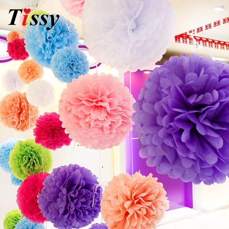 5PCS 12inch(30CM) Handmade Tissue Paper Pom Poms Paper Flower Ball Pompom Home Garden/Wedding Birthday Party Decoration Supplies