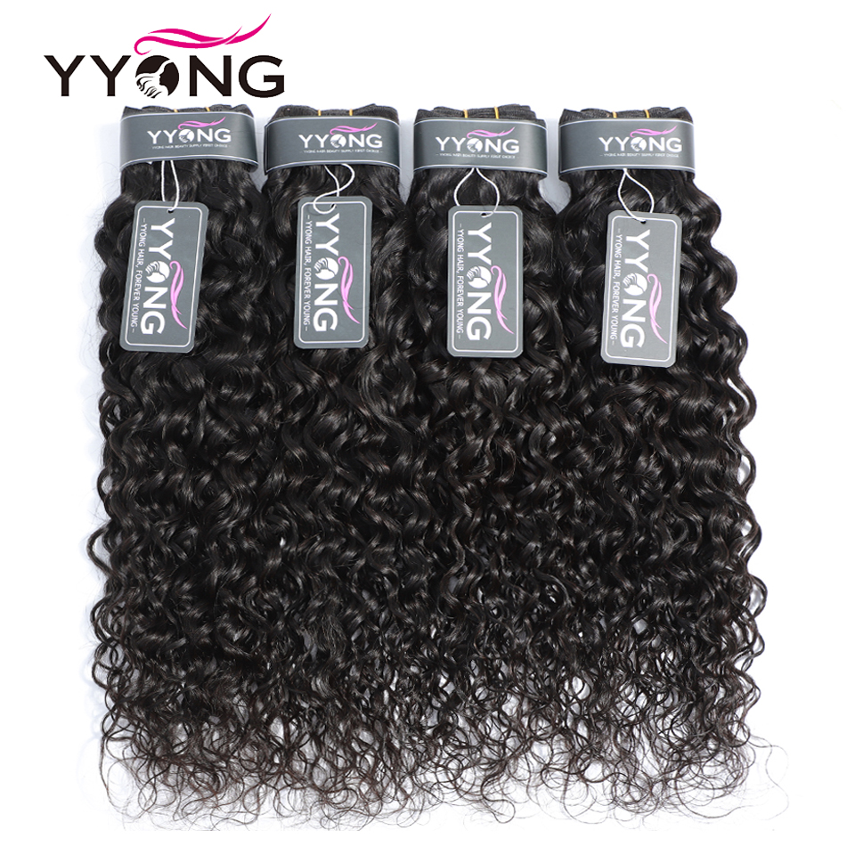Yyong Store Water Wave 3 Bundles With 4x4 Closure 8-30 inches 4