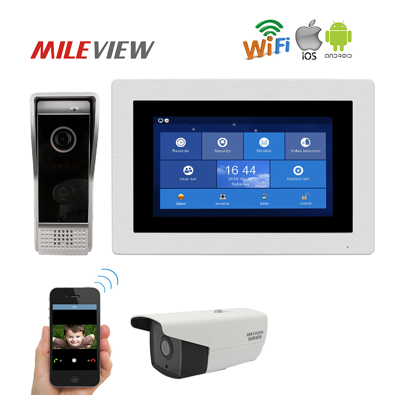Livre o Navio 1.0MP 720 p HD WIFI IP 7 Touch Screen Telefone Video Da Porta Interfone Registro Da Câmera IP Kit monitor Remoto Do Telefone Android IOS