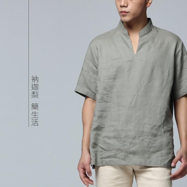 Men Linen T-Shirt – Chinese Folk Style Short Sleeve Men's T-shirt 1BTXC