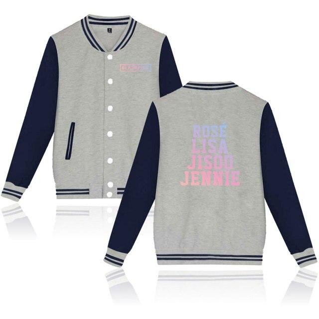 KPOP Korean Fashion Hoodies Blackpink JISOO Jennie Rose LISA Sweatshirts Women Casual Long Sleeve Cotton Baseball Jackets Coats