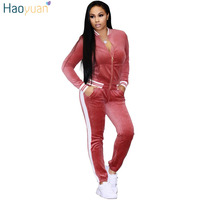 HAOYUAN Velvet 2 piece set women clothes zip tops and pant casual outfits sweat suits winter fitness sweatsuit velour tracksuit