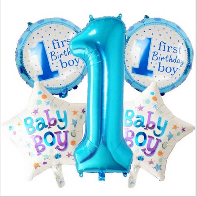 5 piezas azul Rosa fiesta de cumpleaños juego sombrero juguetes números  cumpleaños accesorios juguetes 8de3f2d26a9