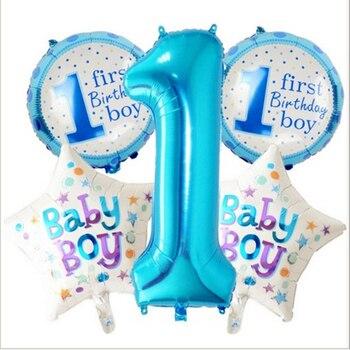 Taoqueen Baby 1st Birthday Balloons Set Pink Blue Birthday Decorations Kids Balloons Party Supplies Cartoon Hats