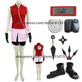 Naruto Sakura Haruno Women's Cosplay Costume and Accessories Set