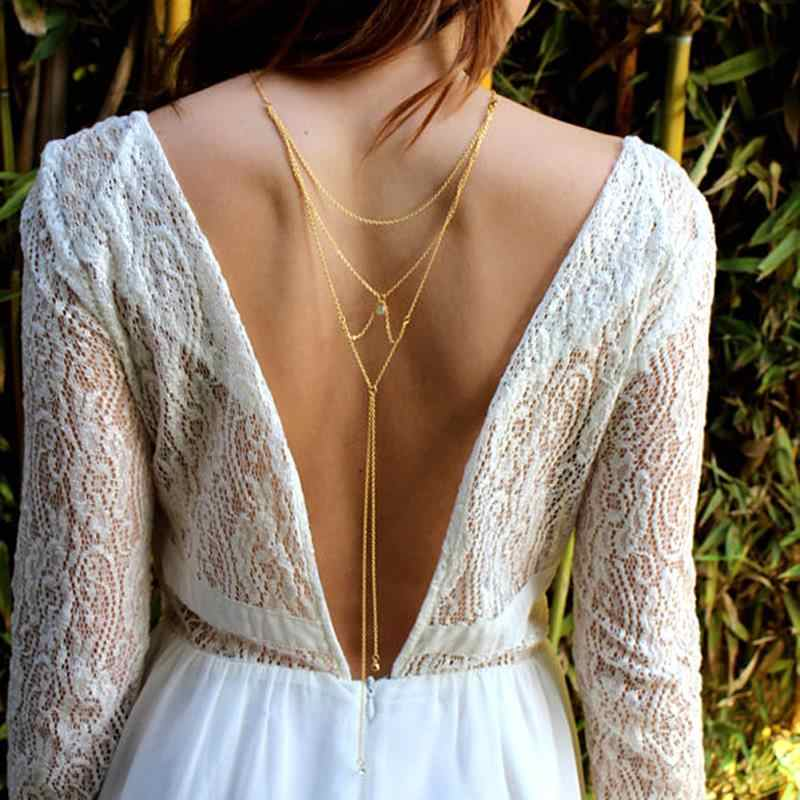 Summer Tassel Crystal Necklace Bikini Back Chain Beach Crossover Body Necklace Rhinestone Multilayer Backdrop Jewelry