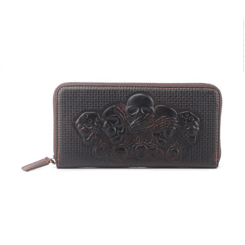 ФОТО Personality Skeleton Genuine Leather wallets Men Long Zipper Clutch muti purse credit card money Card Holder carteira masculina