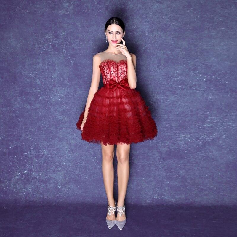 2016 Vino Rojo Corto Vestidos De Coctel Dulce Encaje Mini