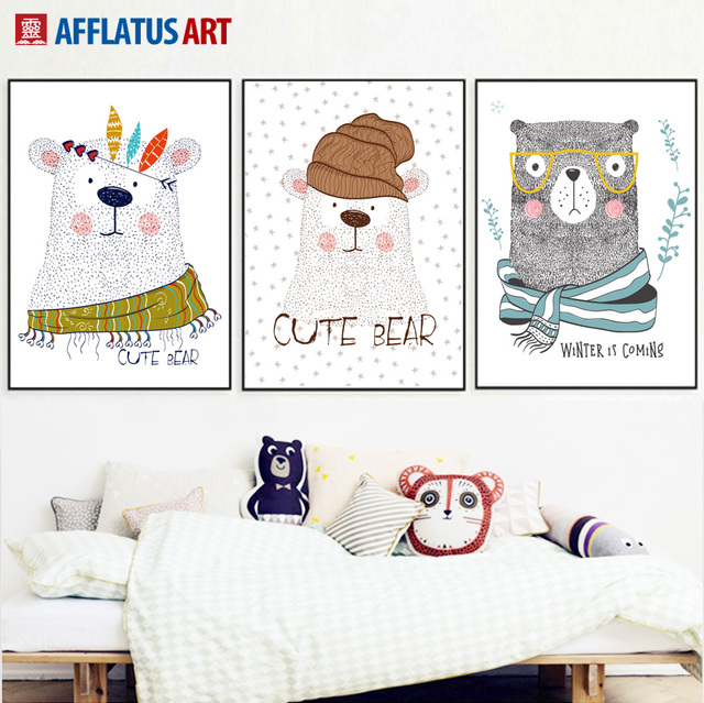 AFFLATUS Cute Bear Wall Art Canvas Malarstwo Zwierzęta Nordic Plakat Plakaty I Reprodukcje Obrazy Ścienne Dla Dzieci Pokój Home Decor