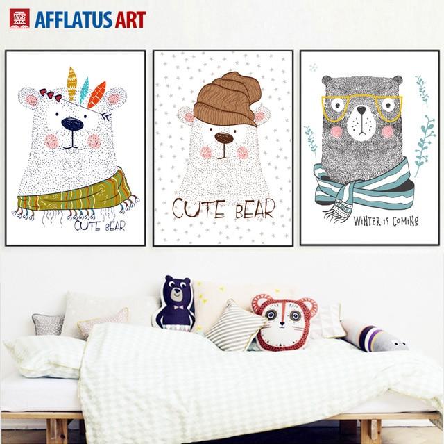 AFFLATUS Cute Bear Wandkunst Leinwand Malerei Poster Und Drucke ...
