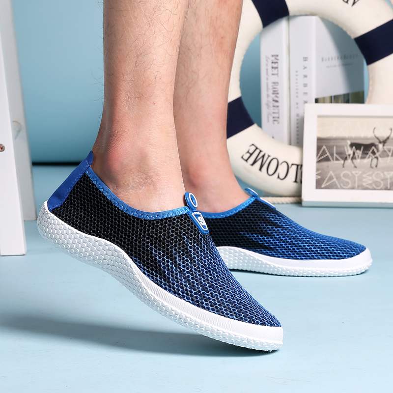 Plus Size 38-47 Summer Men Casual Shoes Slip on Mesh Breathable Network Shoes Man Casual Men Footwear Green/Gray/Blue 3 Colors