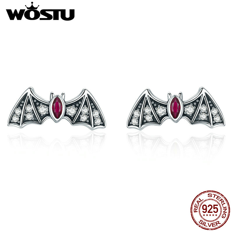 WOSTU Real 925 Sterling Silver Stylish Bat Animal Stud Earrings for Women 3A Zircon Stone Silver Jewelry Anniversary Gift CTE004 pair of stylish rhinestone triangle stud earrings for women