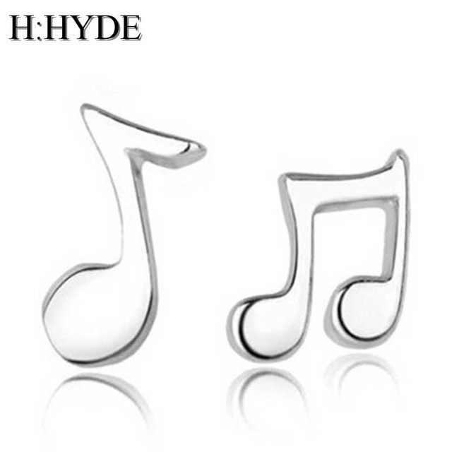 H:HYDE New Fashion 1 Pair Women Stud Earrings Asymmetry Musical Notes Silver Color Ear Studs Earrings for women Jewelry brincos