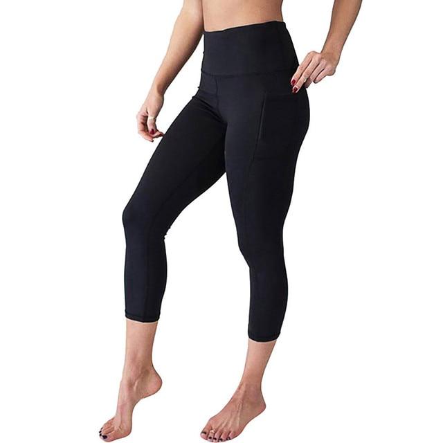 89e56180f9 Pantalones de Yoga sólidos primavera para mujer, pantalones cintura alta,  bolsillos, mallas deportivas correr, informales