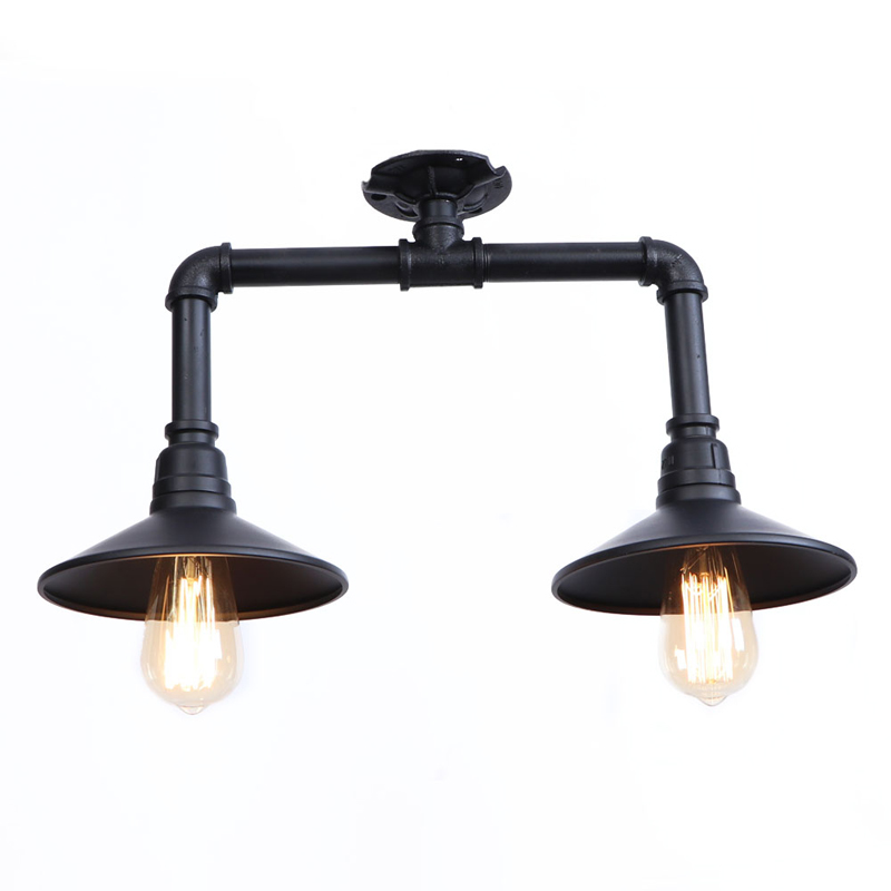 Industrial Style Vintage Retro E27X2 Bulb Water-Pipe Iron Material Ceiling Down Light 100-240V vintage retro 100