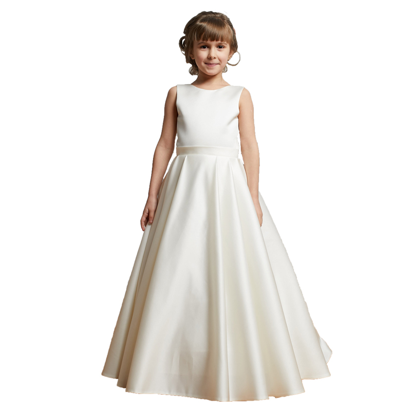 First Holy Communion   Dresses   with Bows White Kids Ball Gowns Long Vestiti Da Comunione Little Bride Satin   Flower     Girls     Dresses