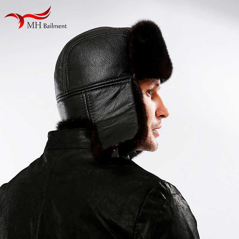 Męska prawdziwe futro z norek czapki nausznikami śnieg futro z norek kapelusz w stylu mody mężczyzna czapka zimowa z nausznikami ciepłe czapki dla ucha mężczyzn