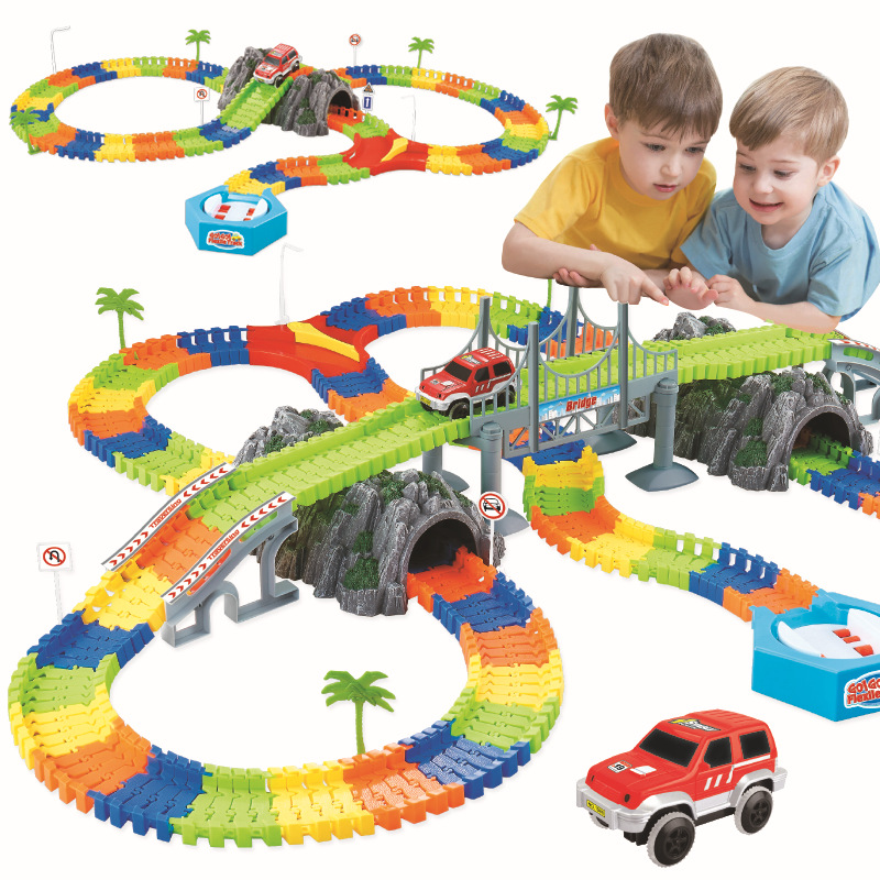 Electric Car With Light Race Track Ramp Turn Road Bridge Crossroads DIY Universal Accessories Toys For Children
