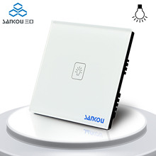 UK Standard 1Gang1Way SANKOU LED Touch Switches White Crystal Glass Panel Light Wall Switch Smart Home AC220V/110V
