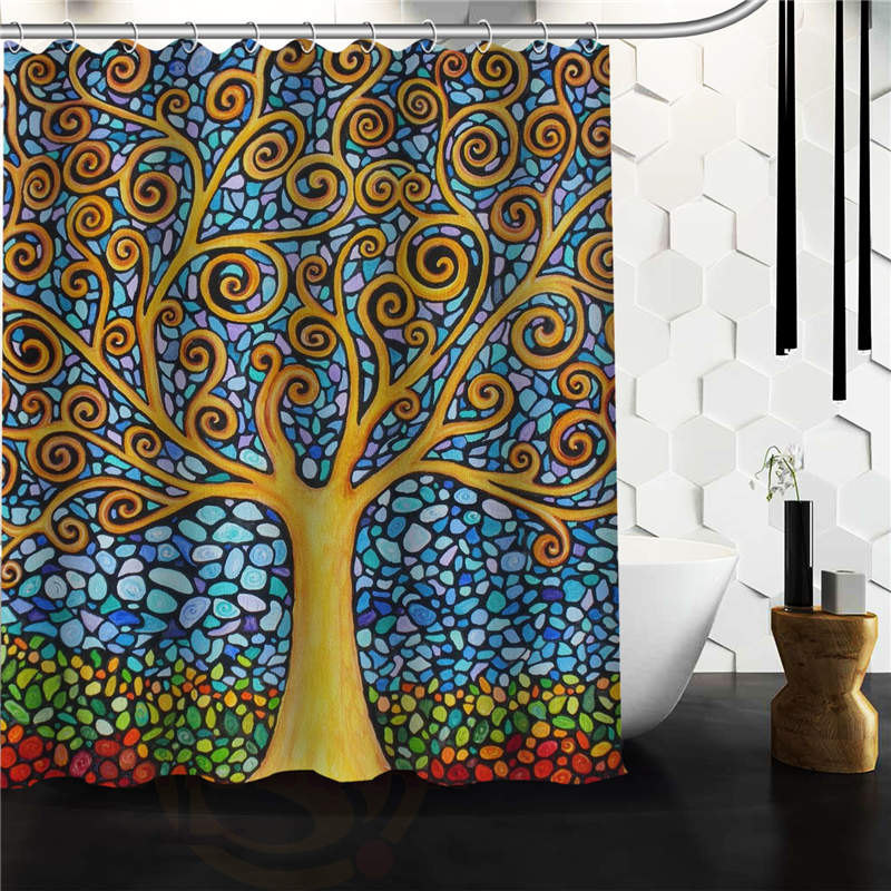 amazing tree of life mosaic art Polyester Fabric Custom home decor Shower  Curtain,66x72 60x72 - Compare Prices On Mosaic Shower Curtain- Online Shopping/Buy Low