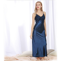 2017 New Imitation Silk Spring And Summer Ladies Long Section Split Open Sexy Sling Sleep Dress
