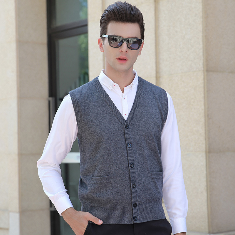 new Autumn Winter Men Cardigan Sweater Youth Computer Knitted V-neck Casual Single Breasted Vest Sleeveless size M L XL 2XL 3XL