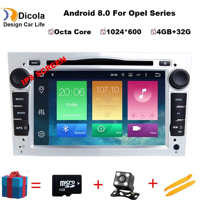 1024*600 4G + 32G Octa Core Android 8.0 2 din Car DVD Stereo per Vauxhall Opel astra H G Vectra Antara Zafira corsa Navi Dei GPS della Radio