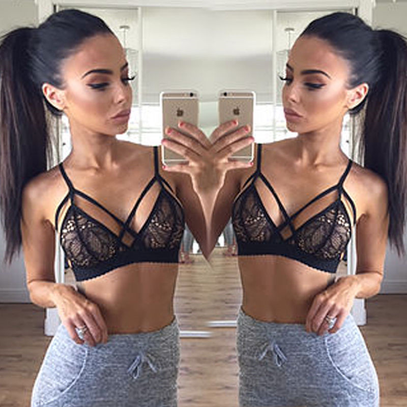 e3fdd65073940 Sexy Women s Lace Halter Bras Lingerie Hollow Out Intimates Crop Top Sexy  Ladies Underwear Strappy bralette