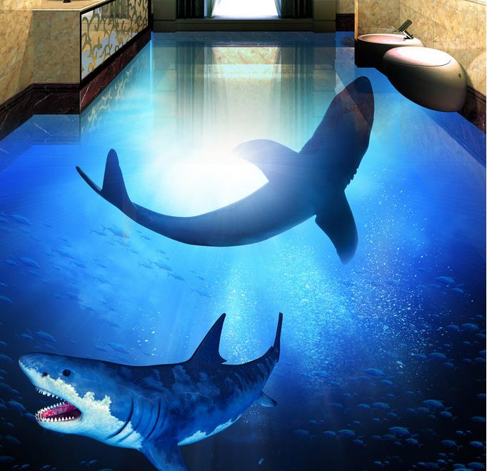 3d flooring wallpaper customize papel de parede 3d floor tiles deep sea shark photo wallpaper for How do sharks use the bathroom