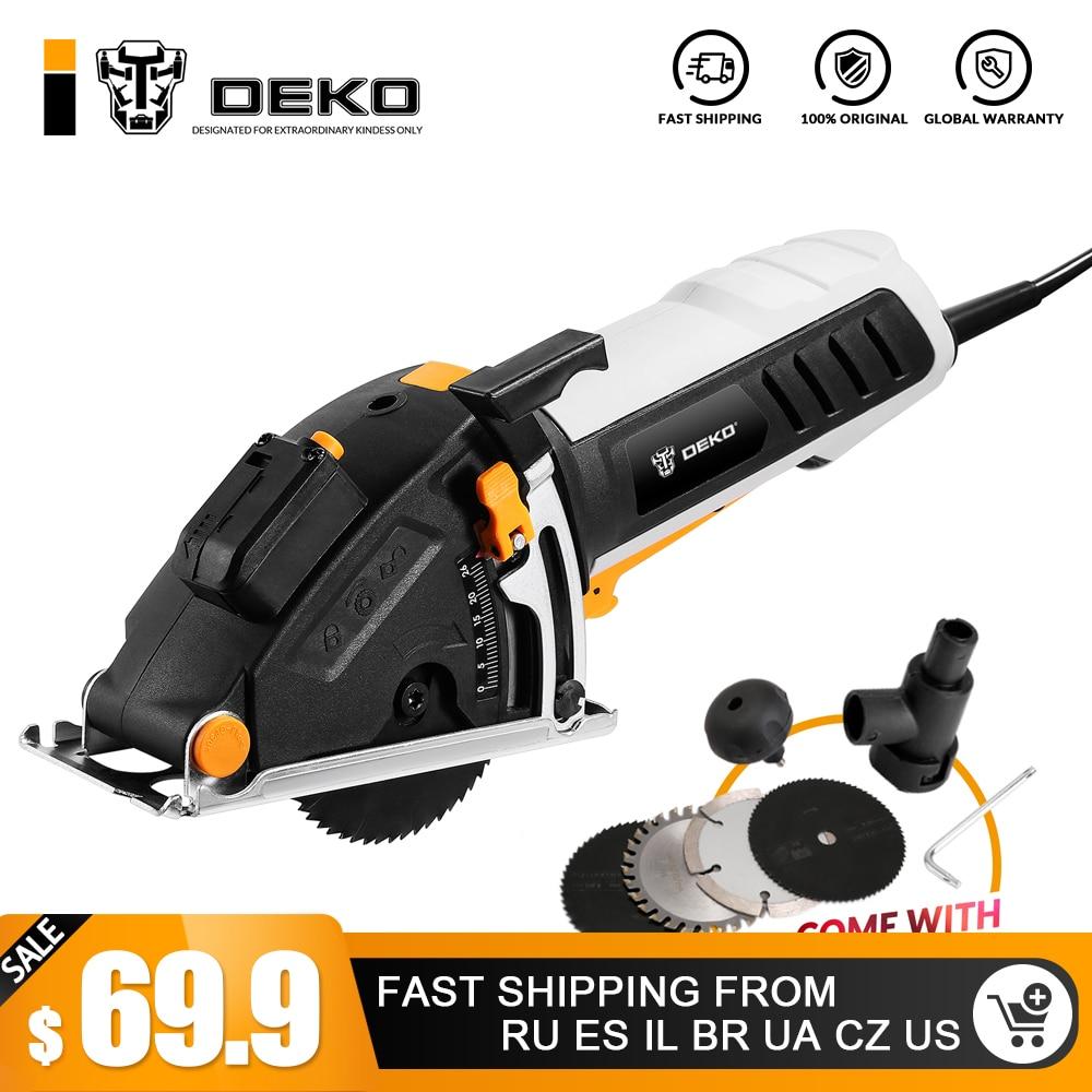 DEKO Mini sierra Circular herramientas con láser, 4 cuchillas, polvo pasaje, llave Allen, mango auxiliar, BMC caja sierra eléctrica