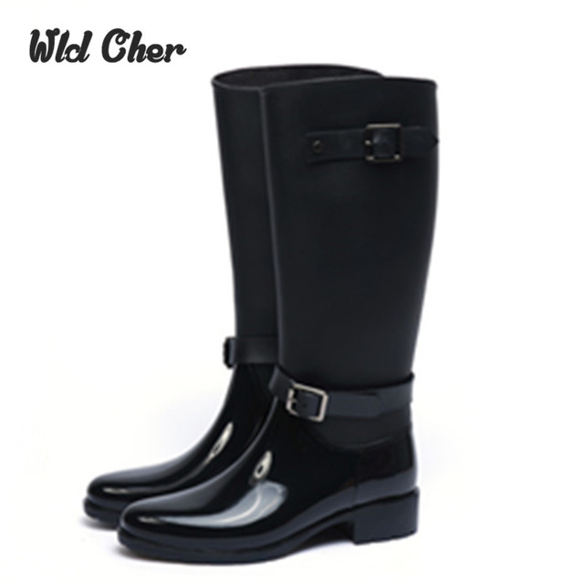 ef04543c8b8a Charming Plus Size 39 New Rain Boots Woman Knee High With Zipper And Buckle  Cool Riding Rubber Botas Winter Water Boots