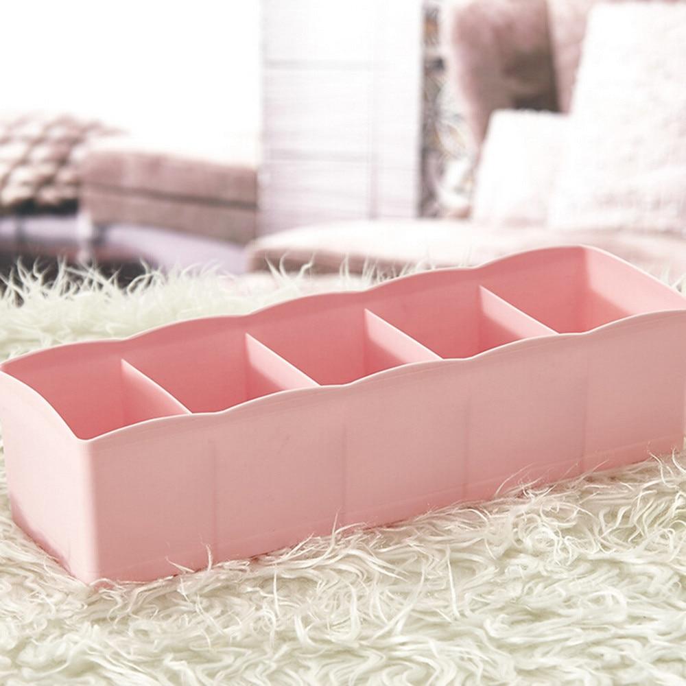 1pc Hot Storage Box 5 Cells Plastic Organizer Storage Box Tie Bra Socks Drawer Cosmetic Divider Tidy New arrival #3n15#F (8)
