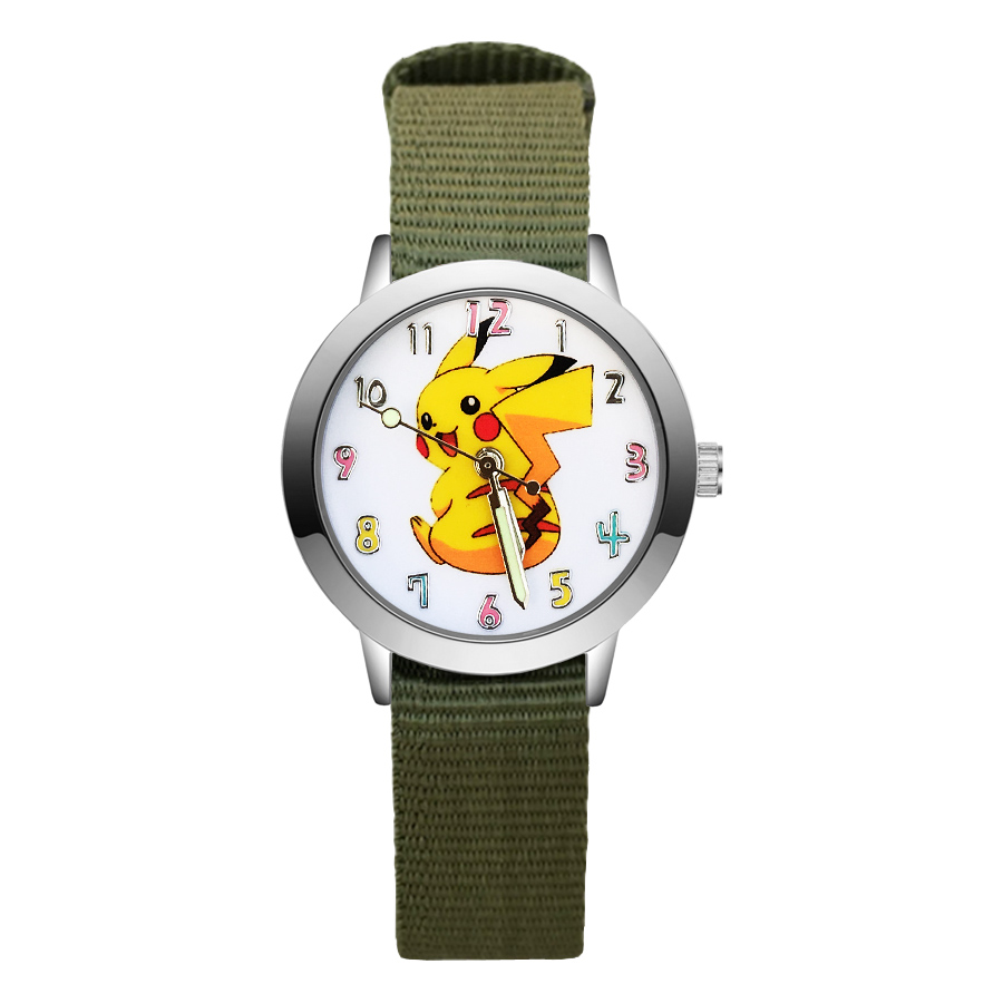 Fashion Cartoon Cute Pikachu style Children's Watches Kids Student Girls Boys Quartz Nylon strap Wrist Watch JA88