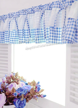 Free Shipping Blue White Plaid Beautiful Coffee Short Curtain Kitchen  Curtains For Living Room Bedroom 40*150CM Customized