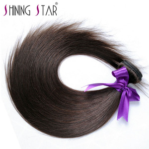 Image 2 - Light Brown Color 4 Straight Bundles Hair Weave Extensions Peruvian 100% Human Hair 1Pc Shining Star Remy  Hair No Tangle