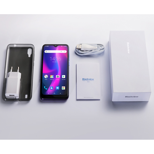 Blackview A60 4080mAh Smartphone Quad Core Android 8.1 Cellphone 6.1 inch 19.2:9 Screen Dual Camera 1GB+16GB Mobile Phone 5
