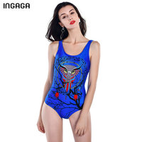 INGAGA 2017 One Piece Swimsuit Female Sport Swimwear Women Bathing Suits Padded Owl Printed Summer Bather