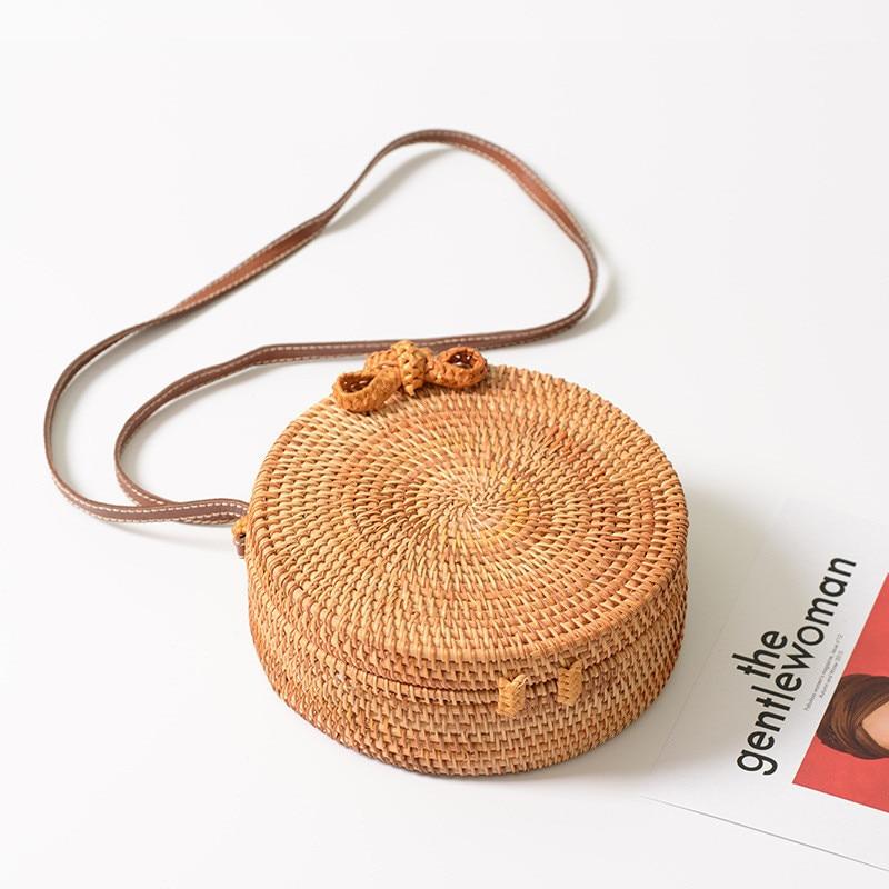 Nueva boutique hecha a mano otoño ratán tejido redondo bolsa de - Organización y almacenamiento en la casa