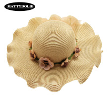 MATTYDOLIE Summer Hat Garland Straw Wide Side Dome Sunscreen Girl Outdoor Beach Leisure Folding Sun