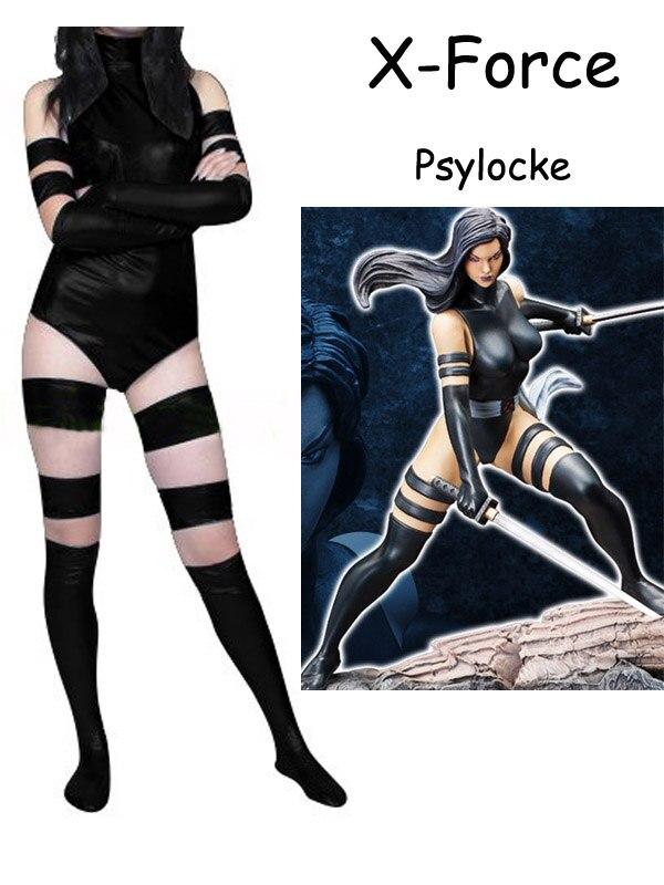 Black X Force Psylocke Costume Zentai X-men Female Women Halloween Party Cosplay Suit