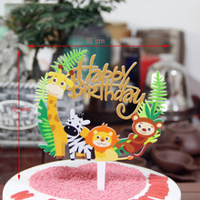 1PC Acrylic Wild Animal Lion Zebra Giraffe Monkey Cake Decoration Topper Happy Birthday Party Kids Supplies CP310