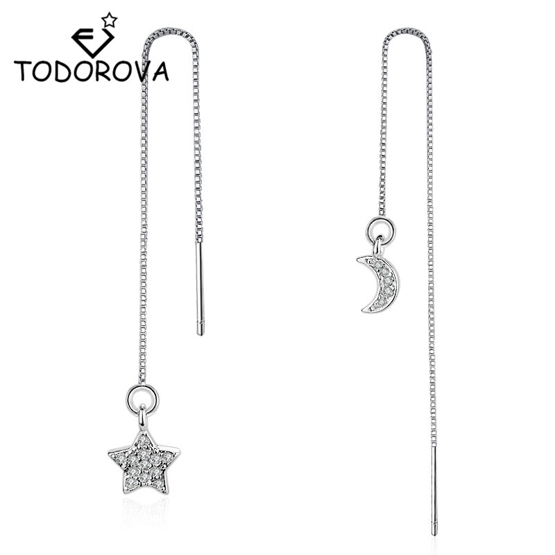 Todorova  Crystal Drop Earrings Star and Moon Long Chain Ear Wire Brincos Fashion Women Accessories Jewelry
