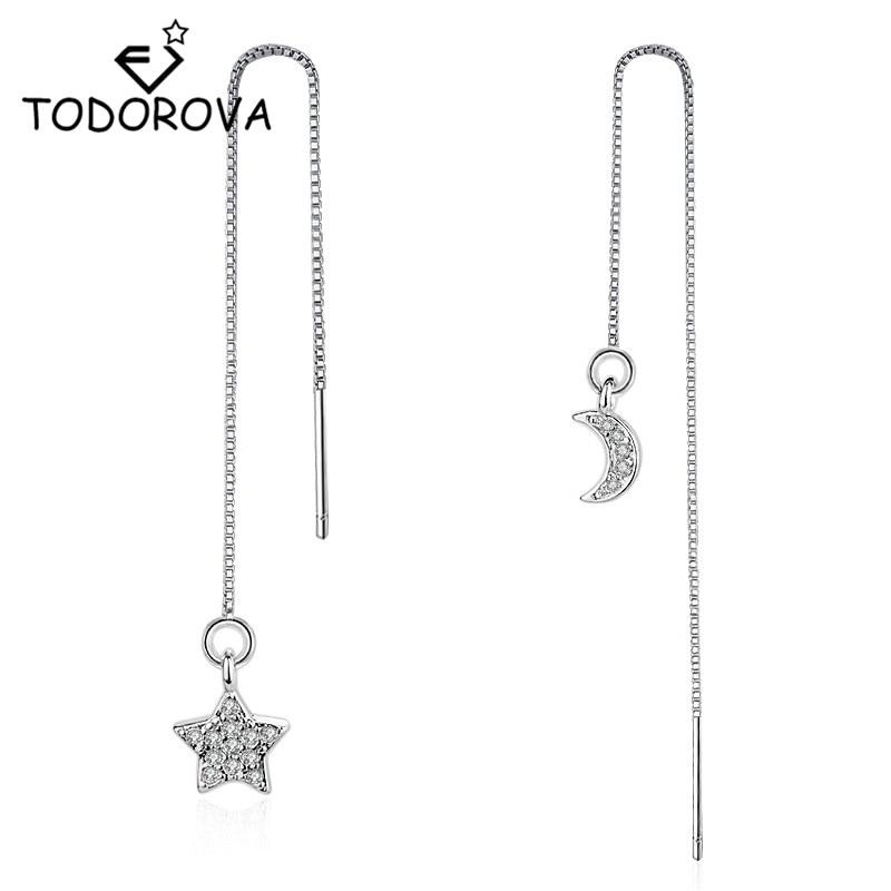 Висячие серьги с кристаллами Todorova, длинная цепочка со звездой и луной, серьги для ушей, модные женские аксессуары, ювелирные изделия