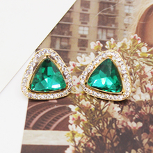 Fashion Brand Vintage Geometric Triangle Crystal Clip Earrings For Women Trendy Classic Rhinestone Earring Wedding Jewelry цены