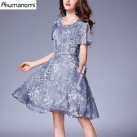 Summer Chiffon Dress Women Clothing O Neck Short Sleeve Flowers Gray Print Dress High Quality Plus